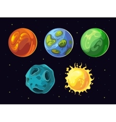 Comic planets and stars set for space vector image vector image