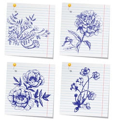 Hand-drawn doodle flower set in sketchbook vector