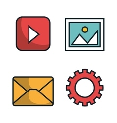 media player flat isolated icon vector image