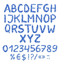 Painted english alphabet with numbers and symbols vector image vector image