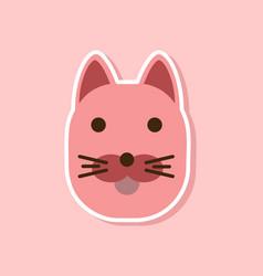 Paper sticker on stylish background cartoon cat vector