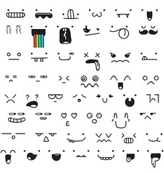 Set of 50 different pieces doddle emotions to vector image