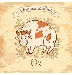 Vintage card with Chinese Zodiac - Ox vector image