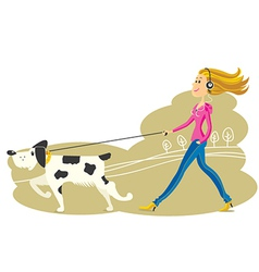 Young Woman walking the dog vector image vector image