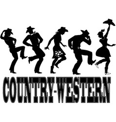Country-western dance silhouette banner vector image vector image