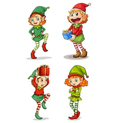 Four smiling elves vector image vector image
