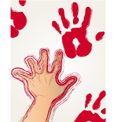 red paint hand print vector image vector image