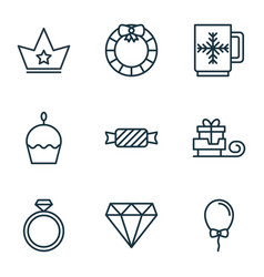 set of 9 celebration icons includes garland vector image vector image