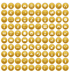 100 kids activity icons set gold vector