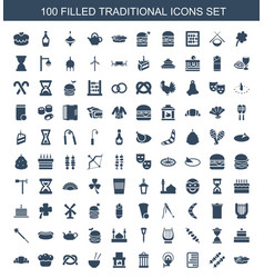 100 traditional icons vector image