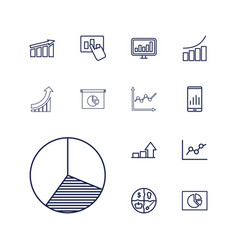 13 graph icons vector