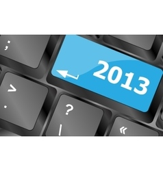 2013 new year keyboard key button close-up vector image