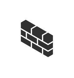 3d brick wall firewall icon symbol in isometric vector