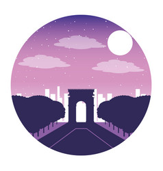 Arch of triumph paris france city night vector