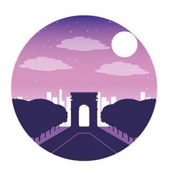 Arch triumph paris france city night vector