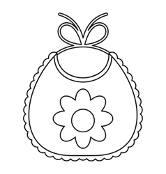 Baby bib with flower icon outline style vector image