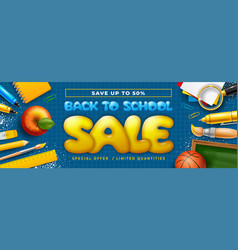 back to school horizontal sale banner with school vector image
