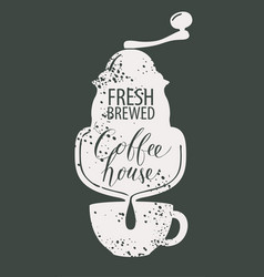 banner for coffee house with coffee mill and cup vector image
