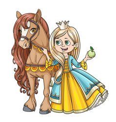 beautiful princess with horse isolated on a white vector image vector image