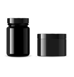 black cosmetic bottle set cream jar mockup vector image