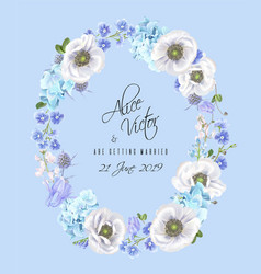 blue anemone wreath vector image