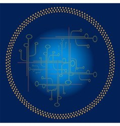 Blue technology circle background vector image