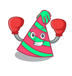 Boxing party hat character cartoon vector