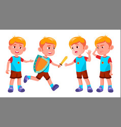 boy kindergarten kid poses set character vector image