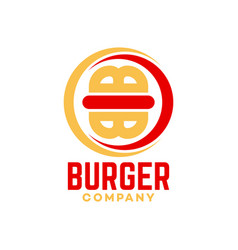 Burger and letter b logo vector