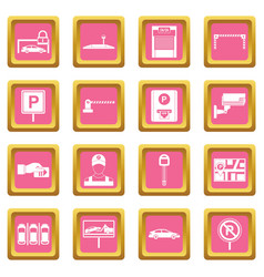 Car parking icons pink vector