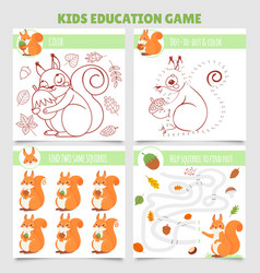 cartoon squirrel kids games find two same vector image