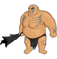 Cartoon strong ogre vector