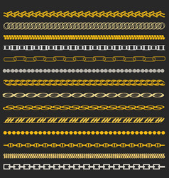 Chain gold and silver set vector