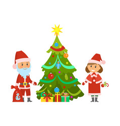 christmas holidays characters santa and maiden vector image