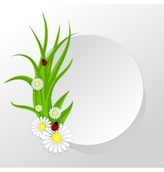 Circle frame with grass and chamomiles vector