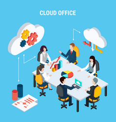 Cloud office isometric poster vector