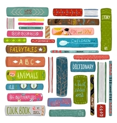 Colorful Books Drawing Library Collection vector