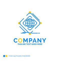 Complex global internet net web blue yellow vector