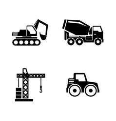 construction vehicles building machines simple vector image