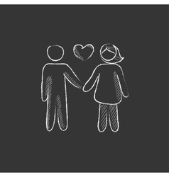 Couple in love Drawn in chalk icon vector