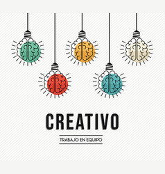 Creative teamwork ideas spanish design concept vector