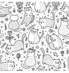 cute cats in summer seamless pattern vector image
