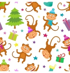 Cute Christmas Seamless Pattern with monkeys and vector