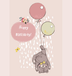 Cute reddy bear with balloons vector