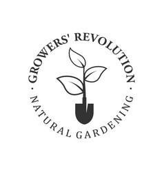 Farming logo design - shovel element growing vector