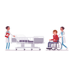 female doctor and hospitalized patient vector image