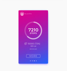 Fitness app activity tracker and step counter ui vector
