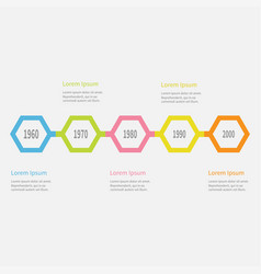 five step timeline infographic colorful polygon vector image