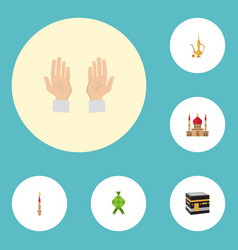 Flat icons minaret pitcher palm and other vector