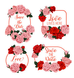 Flowers frames for wedding invitation card vector